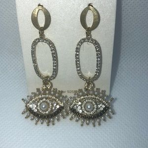 Gold, Pearl and Blingy Eye Earrings